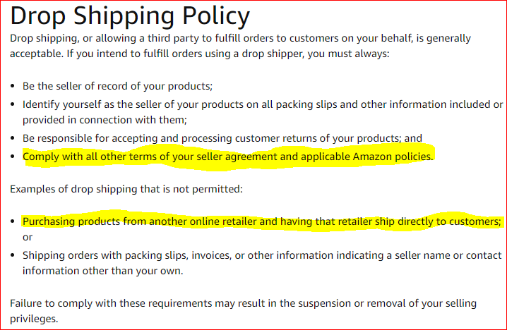 Amazon Seller Policy Violation
